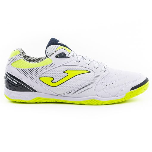 chaussures futsal joma dribling blanche et jaune fluo 911