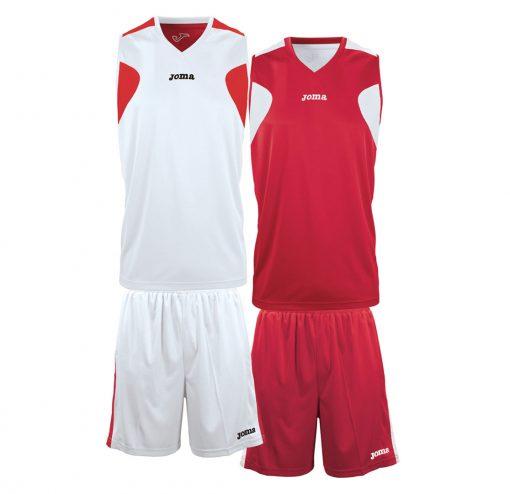 Tenue basket reversible short maillot rouge blanc Joma