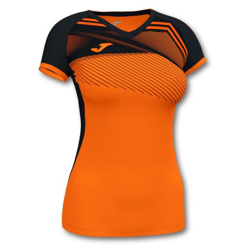 Maillot femme supernova orange et noir futsal football handball volleyball