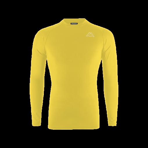 Sous maillot jaune manches longues, double peau, lycra kappa jaune