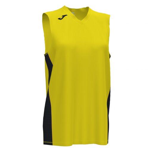 maillot jaune noir, femme, sans manche, basket, Joma, cancha III
