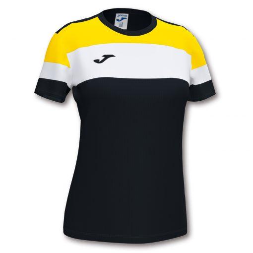 Maillot noir jaune femme Joma, crew IV, foot, hand, volley, futsal