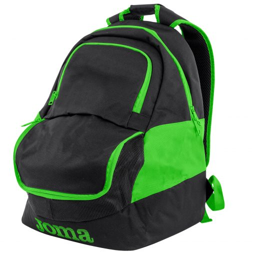 sac à dos, sac de sport, noir, vert fluo, compartiment chaussures