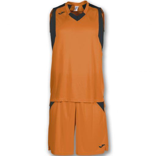 set orange noir, maillot, short, basket, joma, final