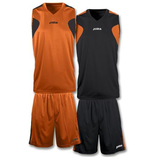tenue reversible basket, noir, orange, Joma
