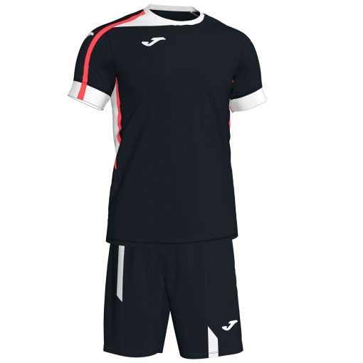 Set Joma noir, maillot + short, Roma II, foot, futsal, volley, hand