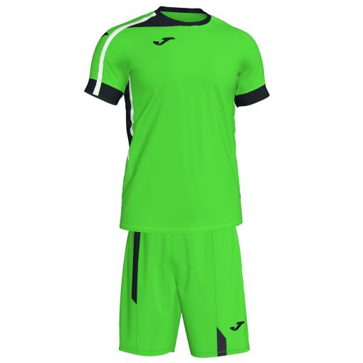 Set vert fluo, Joma, Roma II, maillot + short, foot, futsal, volley, hand