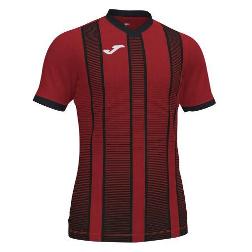 Maillot rouge noir Joma, rayures, tiger II, foot, futsal, hand, volley
