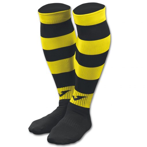 Chaussettes Noire jaune, rayées, Joma, zebra II, foot, futsal, rugby